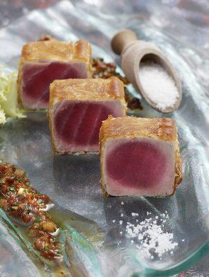 filet de thon en feuilles croustillantes, sauce soja. Patrice Caillault