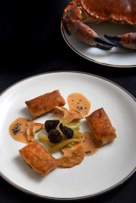 crépenettes de tourteau sauce truffée , Guy Guilloux