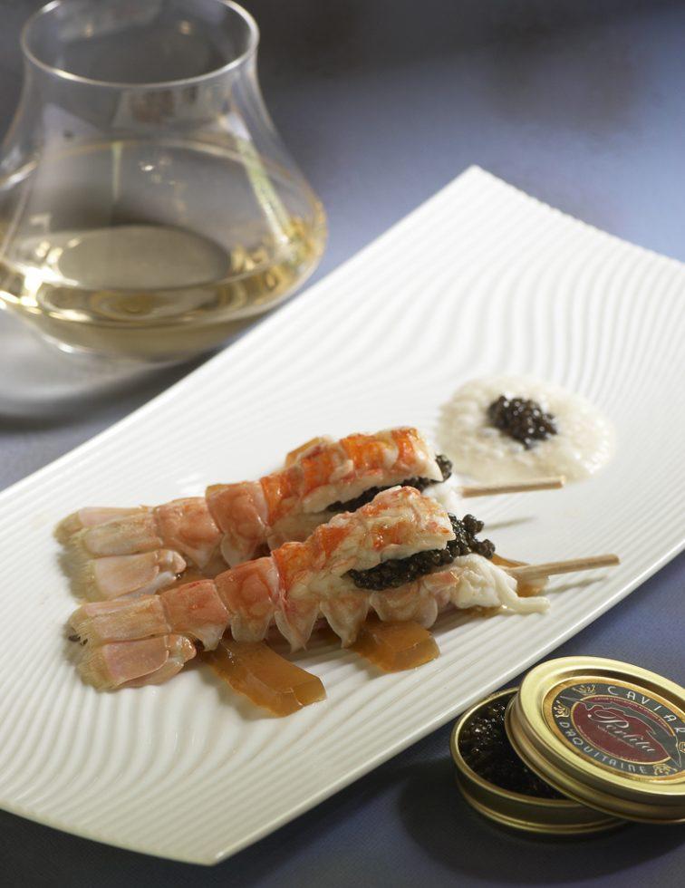 grosses langoustines caviar d aquitaine gelée au sauterne , Guy Guilloux