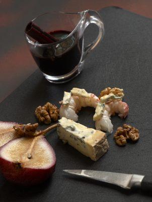 poire au vin épicé roquefort noix et langoustine , Guy Guilloux
