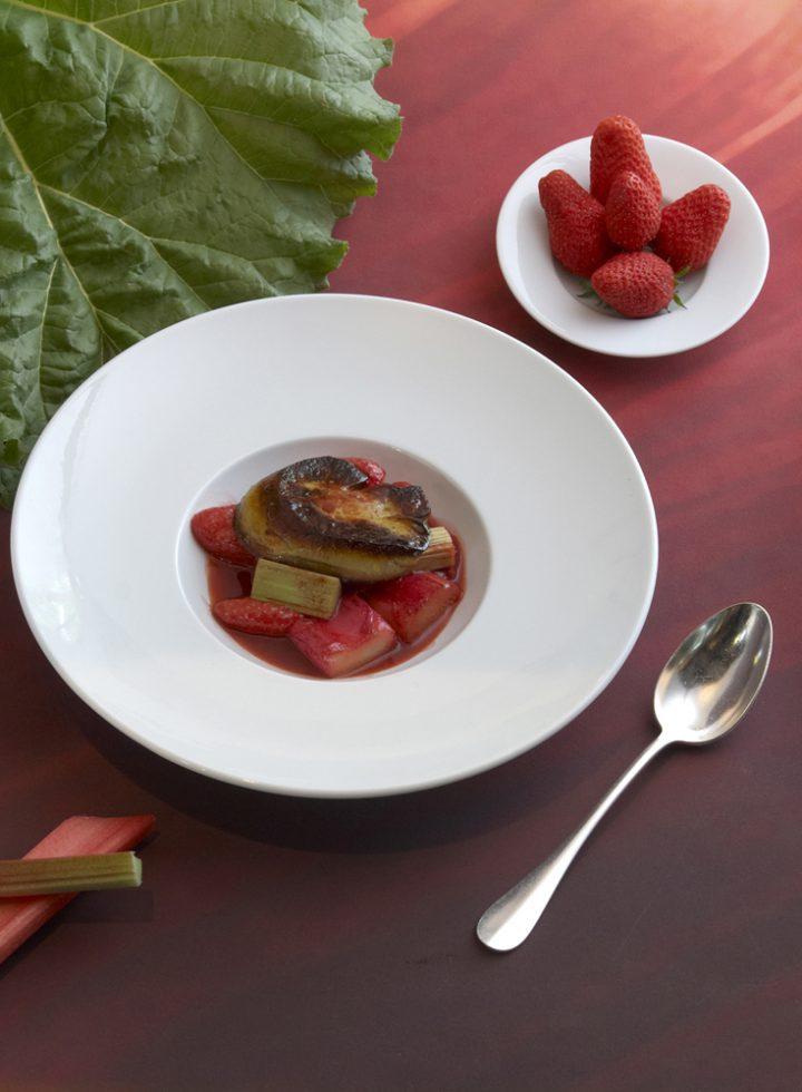soupe de fraises rhubarbe foie gras , Guy Guilloux