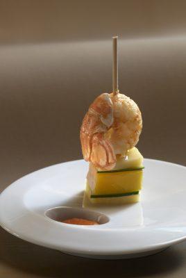 brochette de langoustines comté et foie gras , Guy Guilloux