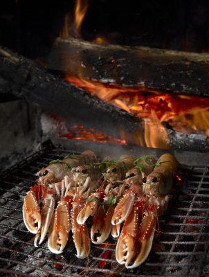 grosses langoustines grillées dans la cheminée , Guy Guilloux