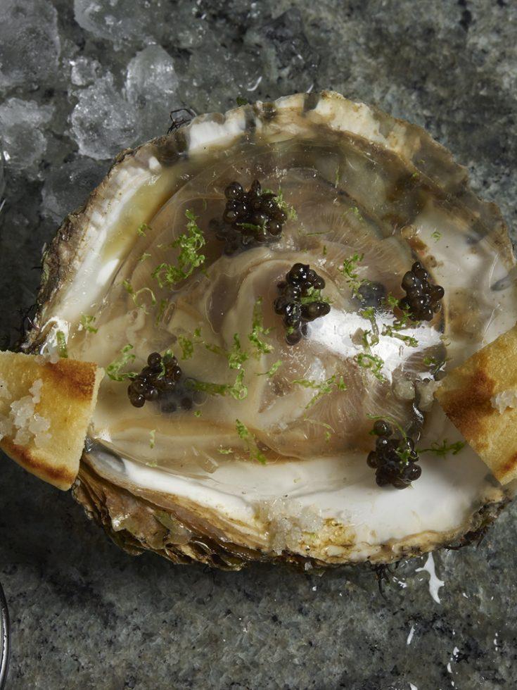 Huitres sauvages voile iodé et caviar aquitain , Henri Pellen