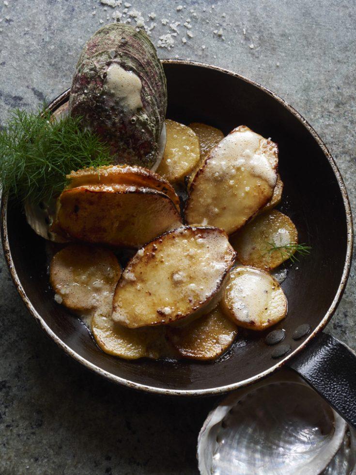 poelée d ormeaux de plongée au beurre demi sel , Henri Pellen