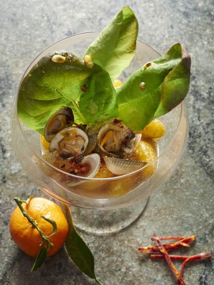 Salades de coques,clémentines corses,blé noir et roquette , Henri Pellen