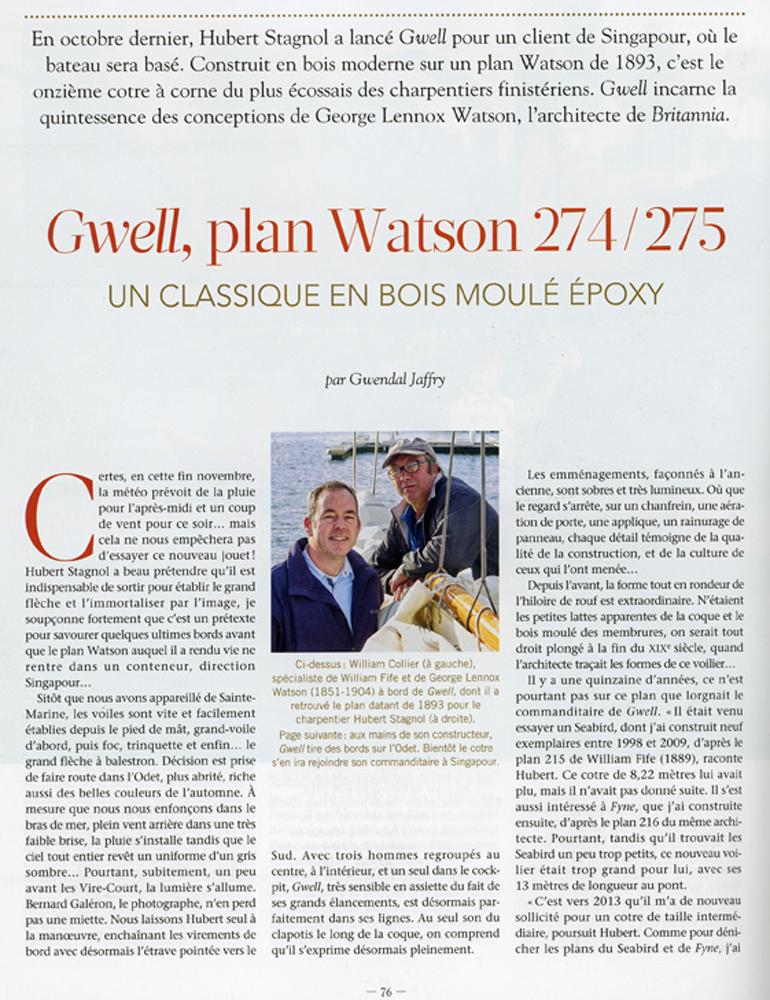 Gwell , plan Watson , chantier Hubert Stagnol , le Chasse Maréee